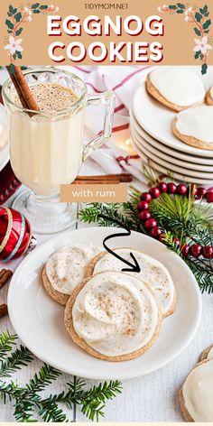 Eggnog Fudge, Eggnog Cookies, Gooey Butter Cookies, Eggnog Recipe, Spice Cookies, Chocolate Chip Cookies, Frosting Recipes, Cookie Recipes, Dessert Recipes