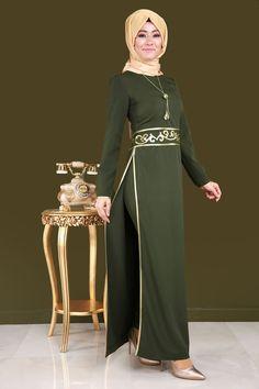 Beli Nakışlı Pantolonlu Tesettür Kombin ASM2034 Haki Hijab Dress Party, Hijab Style Dress, Simple Kurti Designs, Abaya Designs, Abaya Fashion, Muslim Fashion, Party Frock Designs, Ankara Dress, Mode Hijab