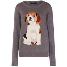 Sugarhill Boutique Intarsia Puppy Print Jumper, Grey (4.370 RUB) ❤ liked on Polyvore featuring tops, sweaters, grey sweater, long sleeve sweaters, holiday sweaters, long sleeve jumper i pattern sweater