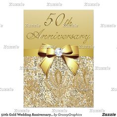 50th Gold Wedding Anniversary Faux Sequins and Bow Card