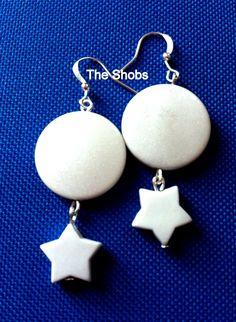 Chunky white earrings ! £5 White Earrings, Drop Earrings, Beautiful Earrings, Jewelry, Fashion, Moda, Jewlery, Jewerly, Fashion Styles