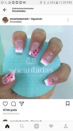Cute Nails, Pretty Nails, My Nails, Mani Pedi, Manicure, Best Acrylic Nails, Moka, French Nails, Spring Nails