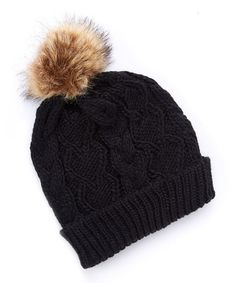 Love this Black Cable-Knit Faux Fur-Pom Cuffed Beanie on #zulily! #zulilyfinds