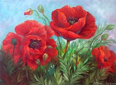 Needlework Diy Diamond Painting Poppy Flower Cross Stitch Embroidery S – Ezbuypay Art Floral, Red Poppies, Red Flowers, Poppies Art, Artist Painting, Watercolor Paintings, Poppies Painting, Oil Paintings, Gary Jenkins