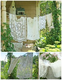 Antique linens blowing in the breeze
