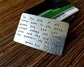 Wallet Card Insert - Hand Stamped Aluminum - Same Size as Credit Card via Etsy.