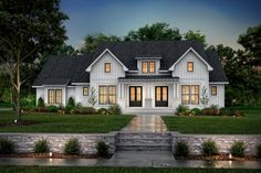 This modern farmhouse exterior gives you a chic front porch. Inside, the open layout feels modern and bright. Questions? Call 1-800-447-0027 today. #architect #architecture #buildingdesign #homedesign #residence #homesweethome #dreamhome #newhome #newhouse #foreverhome #interiors #archdaily #modern #farmhouse #house #lifestyle #designer Modern Farmhouse Exterior, Farmhouse Design, Farmhouse Style, Gas Fireplace Logs, Fireplace Built Ins, Bedroom Layouts, Walk In Pantry, Architectural Elements, Great Rooms