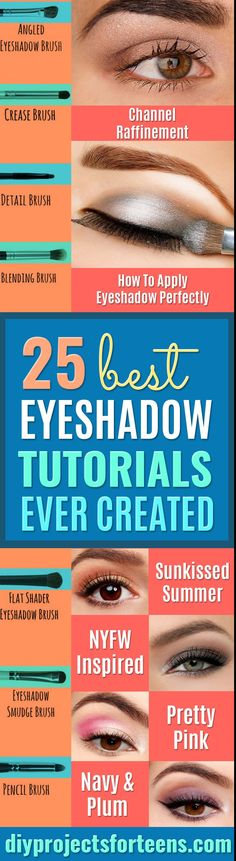 Best Eyeshadow Tutorials - Easy Step by Step How To For Eye Shadow - Cool Makeup Tricks and Eye Makeup Tutorial With Instructions - Quick Ways to Do Smoky Eye, Natural Makeup, Looks for Day and Evening, Brown and Blue Eyes - Cool Ideas for Beginners and Teens  via @diyprojectteens Makeup Tricks, Eye Tricks, Eye Makeup Tips, Makeup Ideas, Diy Makeup, How To Make Eyeshadow, Eyeshadow Tips, Eyeshadow Tutorials, Makeup Tutorials