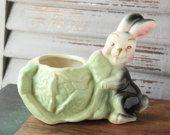 Vintage Rabbit Planter  Bunny Planter  Vintage Planter  Easter Planter  Easter  Vintage Easter Decor  Easter Bunny