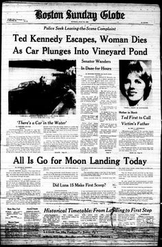 Ted Kennedy's car accident in Mary Jo Kopechne was killed No one should forget who this man really was and how he left her to die. The Kennedy family made their fortune from illegal activity. Newspaper Front Pages, Newspaper Article, Old Newspaper, Ted Kennedy, Jackie Kennedy, Front Page News, Newspaper Headlines, Headline News, Jfk Jr