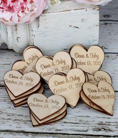 Custom Rustic Wedding Favors Wood Heart Magnets