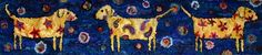 Abstract dog rug hooking by Deanne Fitzpatrick. Colorful paisley and shapes. Dark blue background.