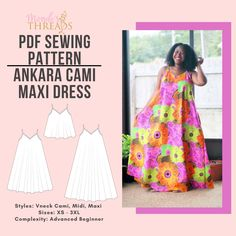 Ankara Cami Maxi Dress Pdf Sewing Pattern and Video Sew Along Workshop by MondesThreadsClothes on Etsy African Print Fashion, Dress Sewing Patterns, Sell On Etsy, Pattern Paper, Ankara, Printed Cotton, Cami, Workshop, Dresses