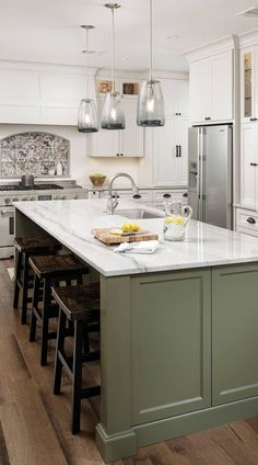 "34+ ( Top ) Green Kitchen Cabinets - "" Good for Kitchen? "" Get Ideas. Painted Kitchen Island, Green Kitchen Island, Green Kitchen Cabinets, Kitchen Island Decor, Modern Kitchen Island, Kitchen Cabinet Colors, Painting Kitchen Cabinets, Kitchen Redo, Home Decor Kitchen"