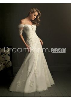 Gorgeous Off-the-shoulder Short-Sleeve A-Line Embroidery Floor-Length Wedding Dress WD-11036