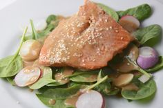 Glazed Salmon With Spinach And Radish Salad. A healthy recipe from Gordon Ramsay.