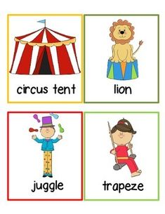 This literacy center is great and easy to use- just print and go! Print out the clue cards and place around your classroom. Have your students go around the room writing the words onto the recording worksheet. Great fun for a circus theme! Preschool Circus, Circus Classroom, Circus Activities, Circus Crafts, Nursery Activities, Pre K Activities, Preschool Writing, Preschool Lesson Plans, Book Of Circus