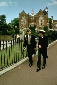 Two students at Harrow School near London wear school uniforms. 1967