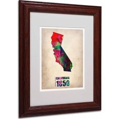 Trademark Fine Art California Watercolor Map Matted Framed Art by Naxart, Wood Frame, Size: 16 x 20, Multicolor