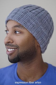 Free knitted boyfriend beanie hat pattern by Expression Fiber Arts - ideal for last minute gifts and to make for all those hard-to-buy-for guys: nephews, grandsons, dad, hubby, etc. Easy level = great for beginners on up.