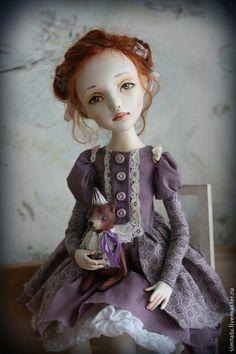 Купить Мамина дочка - сиреневый, рыжая девочка, рыжая кукла, авторская кукла
