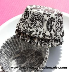 **LOVE**   Black Paisley Cupcake Liners Baking Cups by thebakersconfections