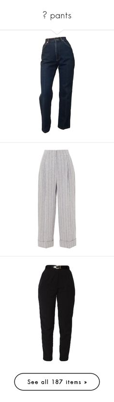 """""""✧ pants"""" by kassie234 ❤ liked on Polyvore featuring jeans, pants, bottoms, mom jeans, trousers, wide leg pants, wide leg linen trousers, pinstripe trousers, linen trousers and rolled up pants"""