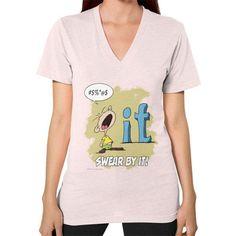 """WordPlay """"Swear by It"""" V-Neck (on woman) designed by Neal Fox & Ron Kule"""