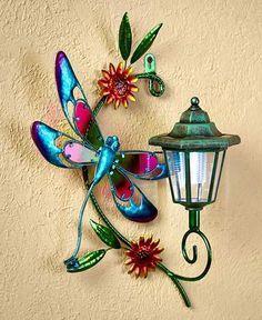 Solar Wall Light Garden Porch Patio Metal Glass Lantern Lawn Decor Butterfly Hummingbird Dragonfly