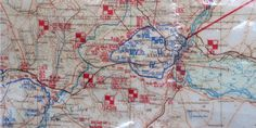 Stalingrad, 1942: Detail of the situation map at the Wehrmacht's General Staff HQ showing the Stalingrad enclosure on Christmas night 1942. Blue denotes German forces, Red denotes Soviet. The German impasse is obvious. Note the distance of the Stalingrad pocket from the closest German front line on the Don at the lower left of the photo.