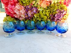 6 Nachtmann Crystal Cut to Clear Large Brandy Glasses Traube Aquamarine ~ Signed #Nachtmann