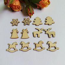200 Pcs Mista Série Natal Botões De Madeira Recados DIY Botão Decoração de…