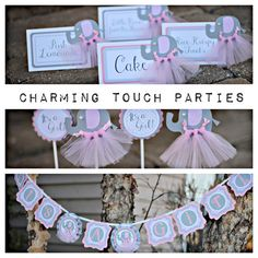 Pink and grey Elephant tutu Party-In-A-Box by CharmingTouchParties