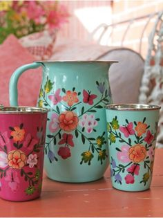Butterfly and Bee Handpainted Jug