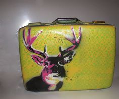 Upcycled painted suitcase buck deer antlers