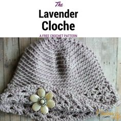 Here's another free pattern for you! This is the Lavender Cloche from a guest post of mine over at My Hobby is Crochet! Go check it out and don't forget to make the matching fingerless gloves ; Crochet Baby Cardigan, Crochet Beanie, Cute Crochet, Crochet Crafts, Easy Crochet, Crochet Projects, Knit Crochet, Crochet Geek, Beginner Crochet