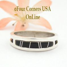 Size 13 Jet Inlay Ring Native American Wilbert Muskett Jr WB-1664 Four Corners USA OnLine Navajo Sterling Silver Jewelry Native American Wedding, Native American Rings, American Indian Jewelry, Engagement Wedding Ring Sets, Wedding Ring Bands, Sterling Silver Mens Rings, Silver Jewelry, Silver Earrings, Wedding Band Styles