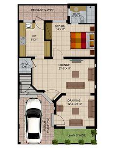 Design studio apartment floor plans New ideas 5 Marla House Plan, 2bhk House Plan, Simple House Plans, Model House Plan, House Plans And More, Studio Apartment Floor Plans, Duplex Floor Plans, House Floor Plans, Basement House Plans