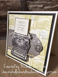 CTMH April SOTM Blog Hop - Typed Note. Love the random stamped background and the use of the Paper Fundamentals pack!