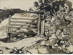 Bonhams : John Minton (British, The Gate x cm. x 14 in. Landscape Drawings, Landscape Art, Landscape Paintings, Landscapes, John Minton, Art Through The Ages, Artist Sketchbook, Royal College Of Art, Painting & Drawing