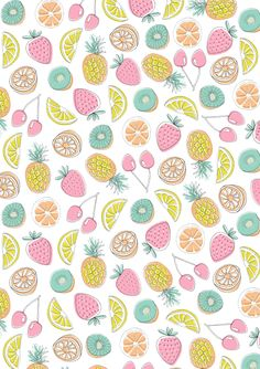Fruit Pattern by Dawn Bishop. Cocoppa Wallpaper, Cool Wallpaper, Pattern Wallpaper, Wallpaper Backgrounds, Spring Wallpaper, Fruit Pattern, Pattern Art, Pattern Design, Lily Cat