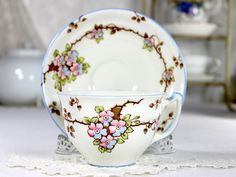Old Royal Tea Cup and Saucer, English Bone China Teacup, Blossom 12512