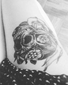 #leg #tattoo de los #muertos #oldskull