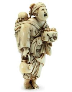 An Ivory Netsuke   Signed Hojitsu, Edo Period (19th century)   Of a woman carrying a kettle with a child on her back