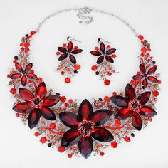 Chunky Ruby Red Aurora Borealis Crystal Bridal Prom Wedding Necklace Set