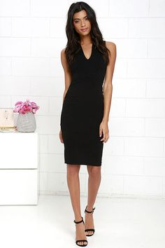 Quite Spectacular Black Midi Dress at Lulus.com!