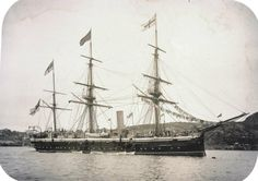 HMS Cleopatra on laundry day. She was a screw-corvette launched in 1878. 20 years of naval technology had passed since HMS Clio was launched (1858, photo posted earlier), makes for an interesting comparison. Used for 'harbour service' in 1903. Renamed Defiance II in 1922. Scrapped 1931.