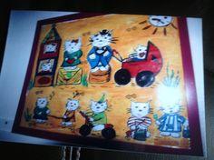 Barnekunst: Katter. malt av Gro Wavik.