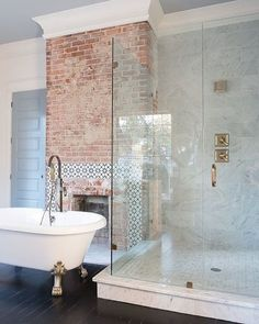 I've rounded up awesome rustic farmhouse bathroom decor inspiration ideas to help inspire you to take on a bathroom makeover. Browse Most Beautiful Farmhouse Bathroom Decor and Design Ideas You Will Go Crazy For Dream Bathrooms, Beautiful Bathrooms, Marble Bathrooms, Brick Bathroom, Bathroom Fireplace, Bathroom Sinks, Bathroom Wall, Luxury Bathrooms, White Bathroom