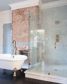 Currently Obsessing Over: Brick - Sundling Studio Washroom, Bathroom Cabinets, Brick Bathroom, Wood Cabinets, Modern Master Bathroom, Bathroom Kids, Cozy Bathroom, Brick Wall Decor, Blue White Bathrooms